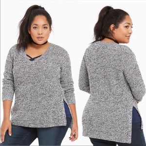 TORRID Marled Knit V Neck Tunic Pullover Sweater 2